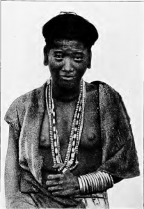 A Bor Abor girl, belonging probably to some village near the great Dihong River in the Sub-Himalayan range. These ladies crop their hair all round as the least troublesome method of disposing of it. The illustration gives a capital representation of their strongly marked Mongolian features, and their coarse, good-tempered faces. This young girl's costume and the ornaments are all apparently from the North ; the blue vitreous turquoise-like beads, which our glass manufacturers cannot imitate, and cornelian and agate pebbles.