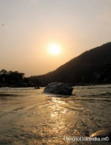 Sunset from beach of river Ganga